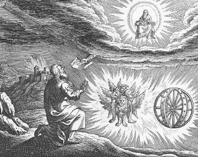 Kupferstich der Merkabavision des Ezechiel aus dem Iconum Biblicarum des Matthäus Merian (1593-1650)