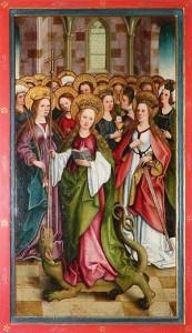 """Heilige Margarete mit einer Gruppe heiliger Jungfrauen"""", Bartholomäus Zeitblom (um 1489–1497) im Ulmer Münster"""