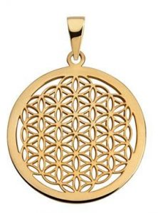 Blume des Lebens Gold Anhaenger